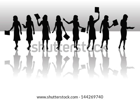 silhouettes of young businesswoman with a folder and shadow - stock vector