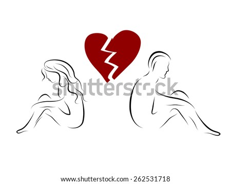 Silhouettes of young couple and broken heart - stock vector