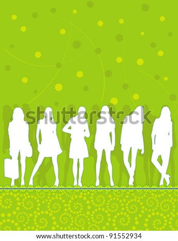 silhouettes of young people group on the abstract floral pattern
