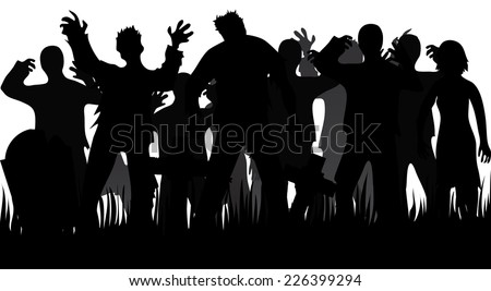 Silhouettes of zombies and tombstones isolated on white - stock vector