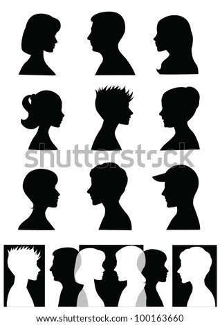 Silhouettes, profiles - stock vector