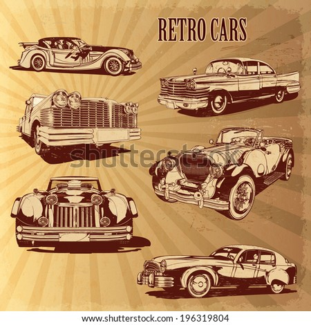 Silhouettes retro cars. Set 2 - stock vector