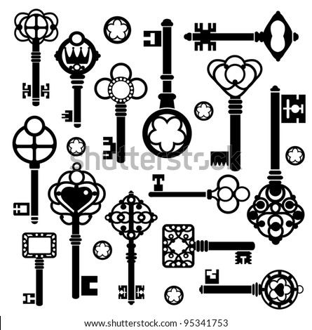 Silhouettes set of keys and locks on a white - stock vector