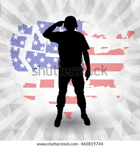 silhouettes soldier on  American banners template  vector design - stock vector