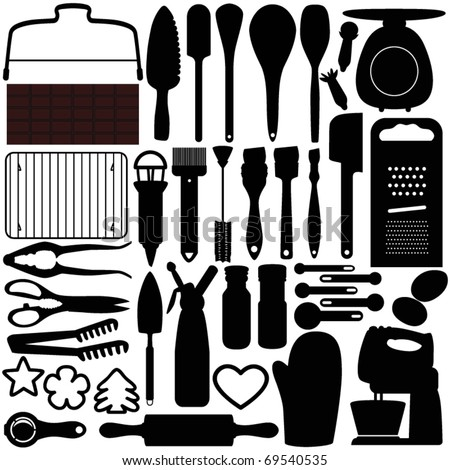 Silhouettes Vector of Baking equipment, cooking tools, spatula, cookie cutters. A set of cute icon collection isolated on white background - stock vector