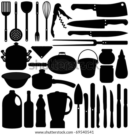 Silhouettes vector baking equipment cooking tools stock for Utensilios de cocina logo