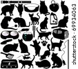 Silhouettes Vector of Cats, Kittens in different actions and pet accessories. A set of cute icon collection isolated on white background - stock photo