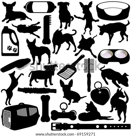 Silhouettes Vector of Dogs, Puppies in different actions and pet accessories. A set of cute  icon collection isolated on white background