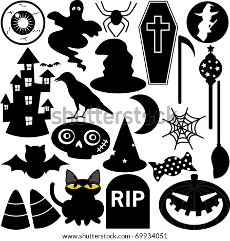 Silhouettes Vector of Halloween Festival Theme with ghost, pumpkin, coffin, haunted house. A set of cute icon collection isolated on white background