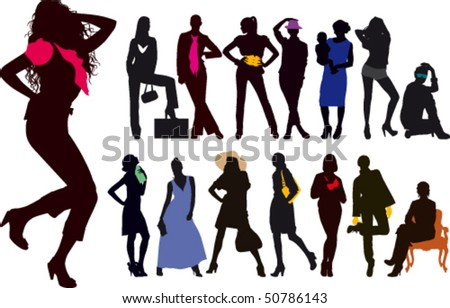 Silhouettes woman with colorful detail