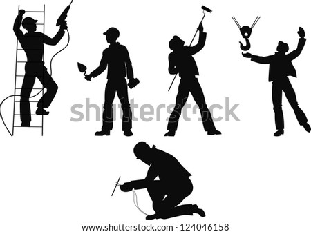 Silhouettes worker to building profession on transparent background 2 - stock vector