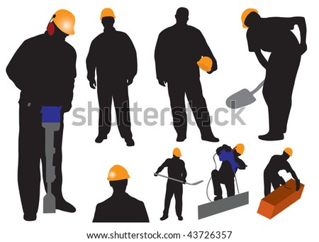 Silhouettes worker. Vector illustration - stock vector