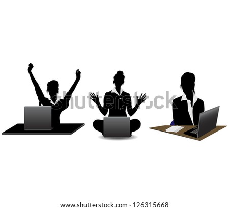 Silhouettes young business woman working on a laptop, isolated on white.Vector - stock vector