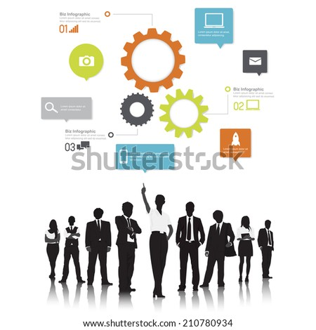 Silhouetts of Business People and Gears - stock vector