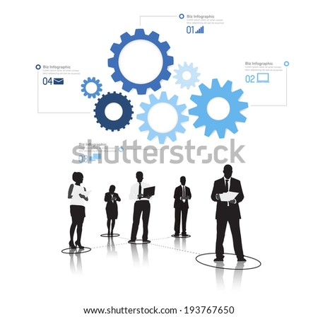 Silhouetts of Business People Working and Gears - stock vector