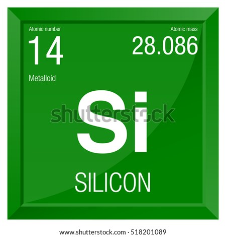 Silicon Symbol Element Number 14 Periodic Stock Vector 518201089
