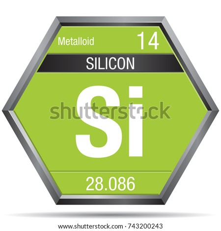 Silicon Symbol Form Hexagon Metallic Frame Stock Vector 743200243
