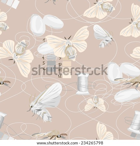 Silk cultivation brown seamless vector pattern - stock vector