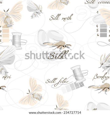 Silk cultivation white seamless vector pattern - stock vector