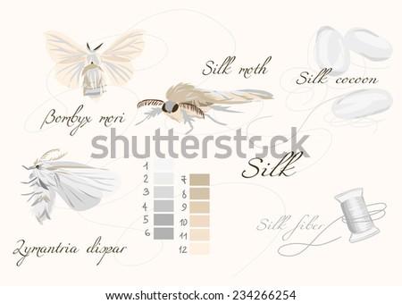 Silk cultivation white seamless vector set - stock vector