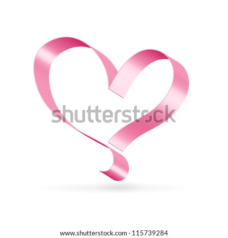 Silk glossy ribbon pink heart over white - stock vector