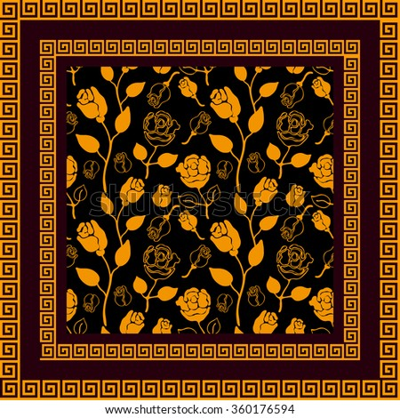 Silk scarf with Art Nouveau style hand drawn golden roses and meander frame. Vintage textile collection. Backgrounds & textures shop.
