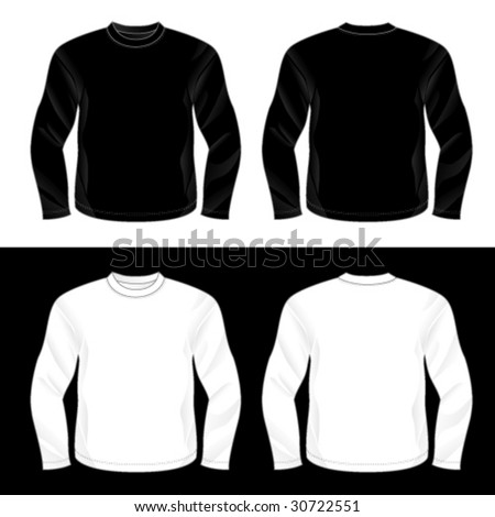 Silkscreen series. Black and white realistic blank long sleeve t-shirt templates. - stock vector