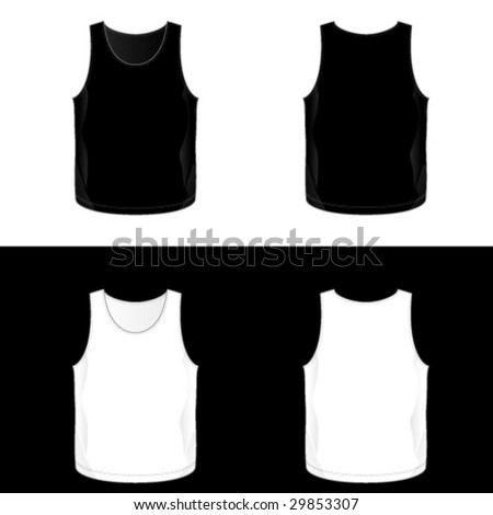 Silkscreen series. Black and white realistic blank men's tank top templates. See also V-neck, t-shirt and sleeveless shirt illustrations. - stock vector
