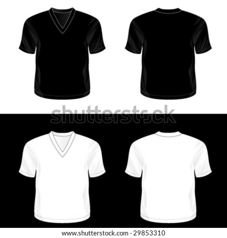Silkscreen series. Black and white realistic blank t-shirt templates. See also men's tank top, t-shirt and sleeveless shirt illustrations. - stock vector