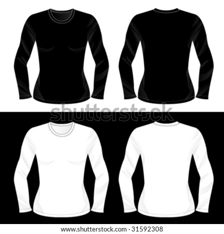 Silkscreen series. Black and white realistic ladies' blank long sleeve t-shirt templates. - stock vector