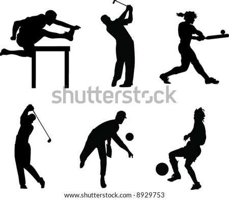 Sillhouete of 6 People playing Sports. Running, Golf, Softball, Baseball, Soccer. - stock vector
