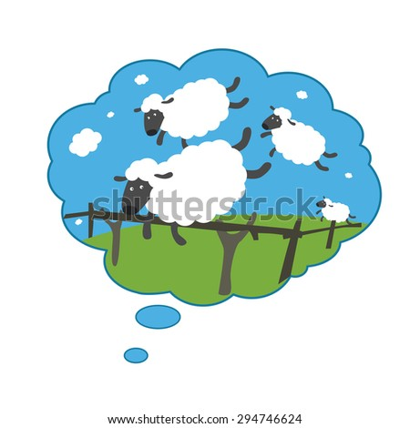Silly sheep jumping through a fence - stock vector