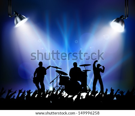 Silouette of dancing at a rock concert - stock vector