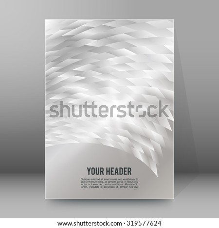 Silver abstract geometric mosaic background with place of text. Design elements Vector illustration EPS 10 for booklet layout page, leaflet template, vertical banner - stock vector