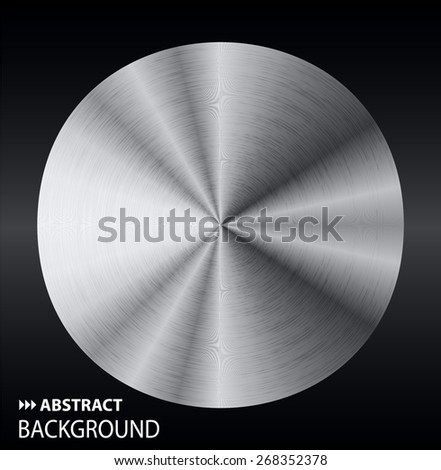 silver abstract technology circle badge, blank button template with metal texture, realistic shadow and light background. Vector. Brochure. text box. banner. card.