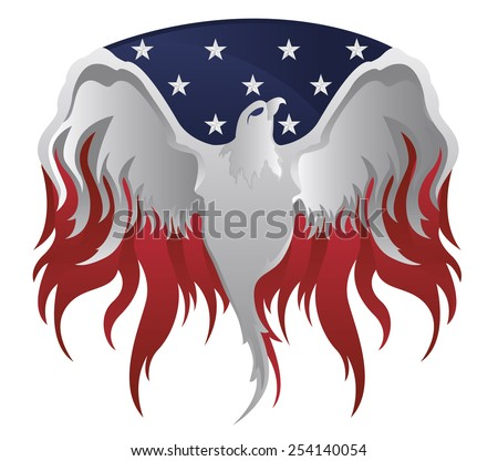 Silver American Eagle on American flag and Flames - stock vector