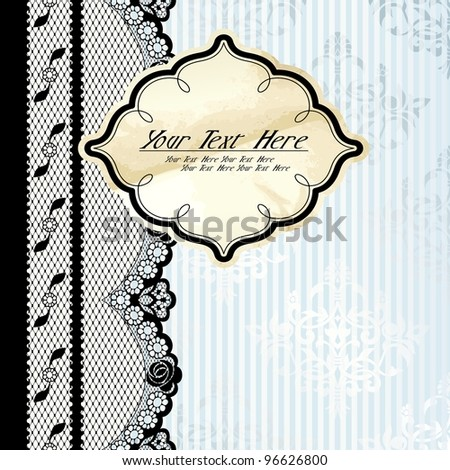 Silver and beige label with black lace (eps10); jpg version also available - stock vector