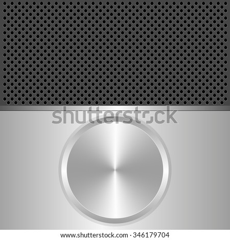 silver and black background with round banner - stock vector