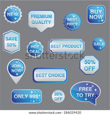 SIlver and blue set of stickers, labels, badges  and icons with star Vector