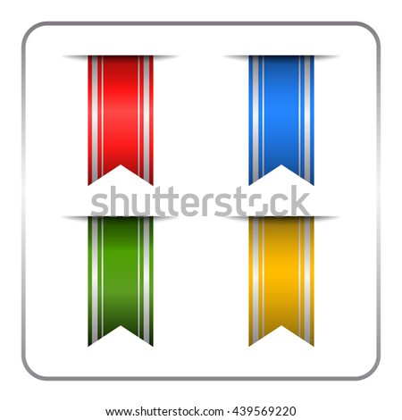 Silver and colored bookmark banners set. Vertical book marks labels isolated on white background. Flag symbol, sign. Design elements collection. Empty tag stickers. Template icons. Vector illustration - stock vector