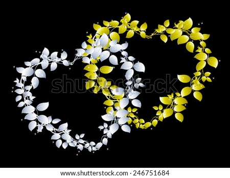 Silver and gold hearts of roses with stars. EPS10 vector illustration.  - stock vector