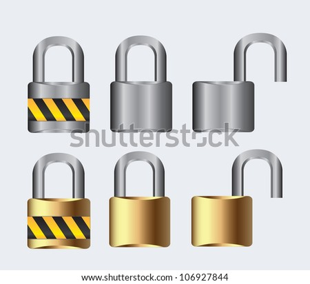 silver and gold lock open and closed on a white background, vector illustration - stock vector