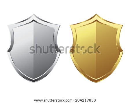 Silver and gold shield - stock vector