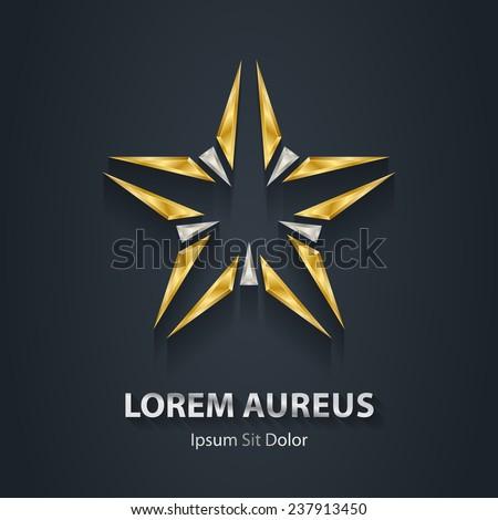 Silver and Gold star logo. Award 3d icon. Metallic logotype template. Volume Vector illustration. - stock vector