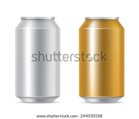 Silver and golden cans - stock vector