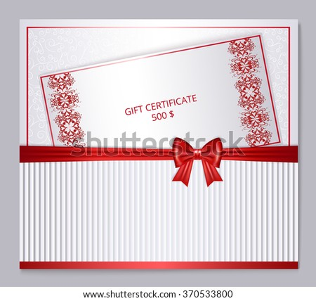 silver and red gift certificate, red bow, lettering and place for your text , vector illustration - stock vector