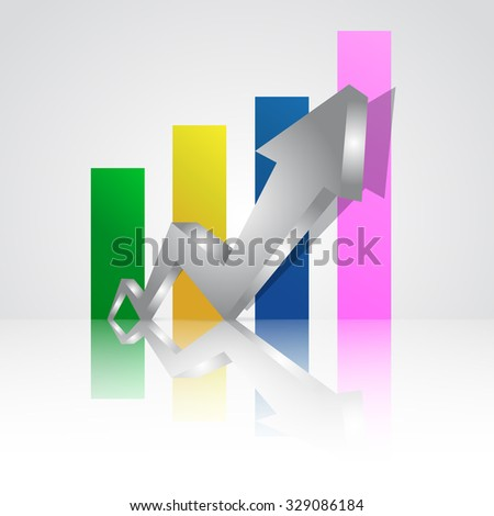 Silver arrow pointing up with graph in the background. - stock vector