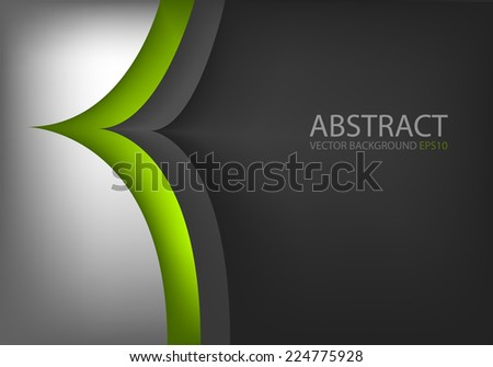 Silver background green line arrow curve background overlap layer paper for text and message modern website and artwork design - stock vector