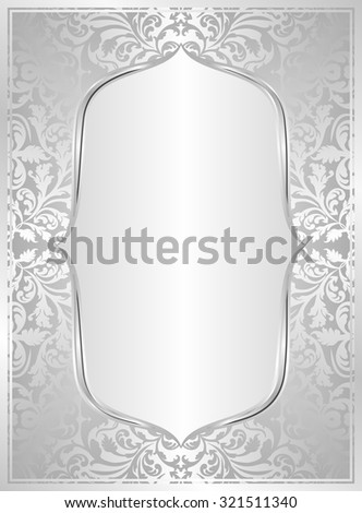 silver background with frame - stock vector