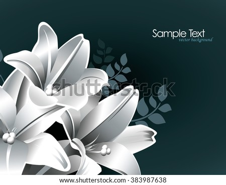 Silver Background with Lily Flowers.